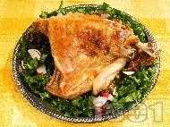 Рецепта Печена агнешка плешка с хрупкава коричка, печена под фолио с бяло вино, джинджифил и къри на фурна